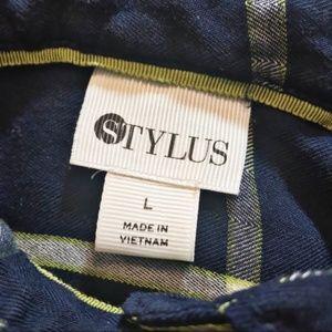 STYLUS Tops - STYLUS Navy Blue Plaid Button Down Shirt L